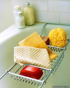 For a generous source of lather and to put an end to searching for the soap on the bottom of the tub, slip a soap bar into a pocket made from a luxurious terry washcloth.