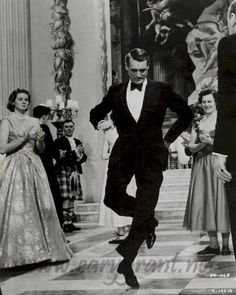 Cary Grant does his happy dance.