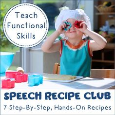 Speech Recipe Club: Recipes to Target Various Speech and Language Goals: Recipes are great to use in speech therapy to teach a variety of language skills like expressive and receptive language, WH questions, compare and contrast, vocabulary, and more. They are also great for teaching functional skills to children. Speech Recipe Club is a bundle of resources for all different kinds of recipes. You can get them from my TpT Store - Speech is Beautiful #speechtherapyideas #speechrecipes