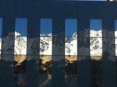 Die #Nordkette wird von den Glasflächen des #Casino #Innsbruck gespiegelt. Innsbruck, Den, Polaroid Film, Painting, Painting Art, Paintings, Drawings