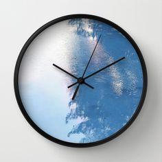 Aqua Blue Clouds Wall Clock by Artbyjwp - Black - Black Wall Clock Frame, Wall Clock Design, Cotton Candy Sky, Unique Wall Clocks, Blue Clouds, Aqua Blue, Wall Murals, Natural Wood, Cool Designs