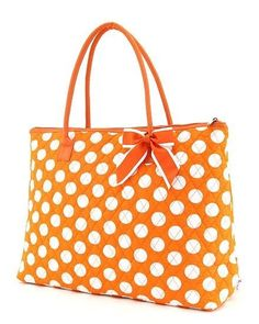 789e23fd6c51 Large Quilted Polka Dots Print Tote Bag - Orange and White