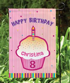 Pink 'Happy Birthday' Personalized Garden Flag
