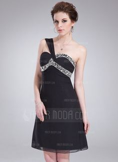 Little Black Dresses - $144.99 - Empire One-Shoulder Knee-Length Chiffon Homecoming Dress With Ruffle Beading (022010026) http://hochzeitstore.com/Empire-One-shoulder-Knee-length-Chiffon-Homecoming-Dress-With-Ruffle-Beading-022010026-g10026
