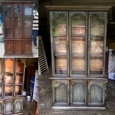 Before and after painted China cabinet . We used General Finishes milk paint products as our base coat . We then use gel stain as our glaze