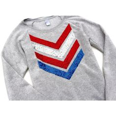4th of July Shirt 4th of July Sweatshirt Jumper Red White and Blue Usa... (736.725 IDR) ❤ liked on Polyvore featuring tops, hoodies, sweatshirts, silver, women's clothing, oversized shirts, sequined tops, sequin elbow patch shirt, unisex shirts and red shirt