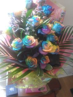 Fab rainbow rose bouquet