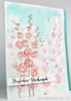 Kartenwind: Embossen mit Dies | geprägte Aquarellkarte #kartenwind #diecutting #dies #klartextstempel #danipeuss #embossing #watercolor #coloring #impressionobsession #birthday #cardchallenge