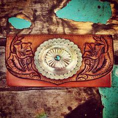 Western Floral wallet with vintage Navajo concho