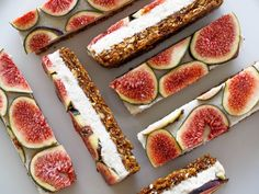 Raw Vanilla Coconut Fig Slice | Walnut fig base, layered with a vanilla coconut cashew cream, topped with fresh fig slices. Completely raw, vegan, sugar-free, dairy-free and gluten-free.