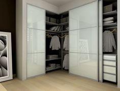 Modern Closet with Frosted glass sliding closet doors, Bamboo flooring, Modu Home Sliding Doors Modern Closet Doors, Bedroom Closet Doors, Wardrobe Design Bedroom, Sliding Wardrobe Doors, Sliding Doors, Corner Wardrobe Closet, Built In Wardrobe, Pax Wardrobe, Closet Designs
