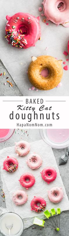 These baked kitty cat doughnuts are SO adorable, they're sure to bring a smile…