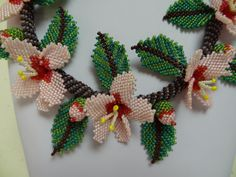 Almond Blossoms Bead Woven Necklace van gayhuntley op Etsy