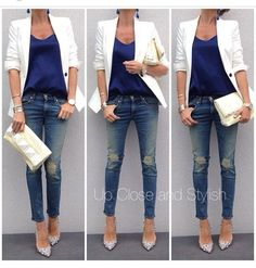 white blazer blue shirt
