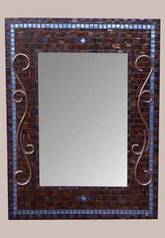 DIRECTION OF METALLIC VEINING IS RANDOM, EXCEPT FOR THE OUTER & INNER FRAMES--NICE  (24 x 30 size) - Elegant large blue and brown bathroom mirror with my signature hand crafted copper design! RoxannesMirrors $485