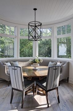 The dining nook, love the curved bench and chairs with handles to protect from sticky fingers.