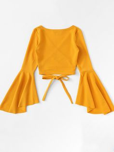 Flounce Sleeve Self Tie Wrap Crop Top - Tie Hem Flounce Sleeve TopFor Women-romwe Source by alpeekaboo - Teen Fashion Outfits, Mode Outfits, Girl Fashion, Girl Outfits, Fashion Dresses, Teenager Outfits, Crop Top Outfits, Cute Casual Outfits, Summer Outfits