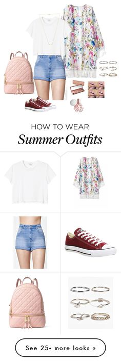 """Summer outfit"" by simmons-salsa on Polyvore featuring Kendall + Kylie, Monki, Converse, Urban Decay, MICHAEL Michael Kors, Wanderlust + Co and Boohoo"