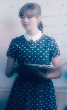 Clara's collared polka dot dress on Doctor Who.  Outfit Details: http://wornontv.net/36536/ #DoctorWho I absolutely love Clara's outfits!