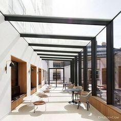 Commercial Savile Row Phase 1 Commercial Savile Row Phase 1 IQ Projects completed the full glazing package for one of London's leading property development Roof Terrace Design, Rooftop Design, Rooftop Bar, Glass Building, Building Design, Glass Roof Extension, Glass Green House, Glass Walkway, Box Architecture