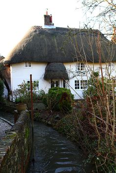 The Stream by a Thatched Cottage in Bosham, England