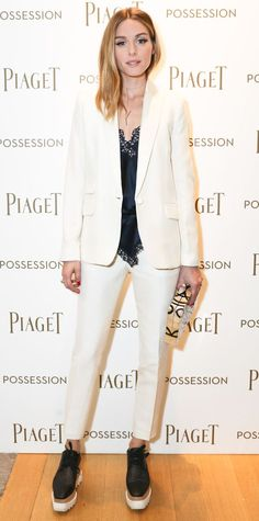 Olivia Palermo wearing crisp tailored white separates with Stella McCartney platform brogues, a satiny black lace-trimmed cami, a pale pink Adornmonde wraparound choker, and a graphic-print box clutch. Estilo Olivia Palermo, Olivia Palermo Lookbook, Olivia Palermo Style, Elyse Stella Mccartney, Stella Mccartney Platform, Star Fashion, Look Fashion, Gq Fashion, Fashion Styles