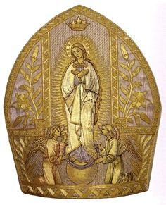 Le Rêve: Ecclesiastic mitre such as Angélique embroiders at Félicien's behest.