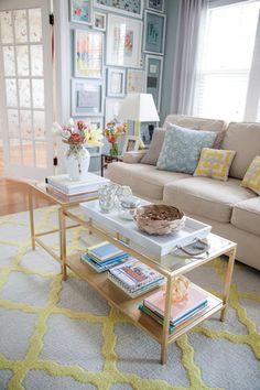 Lauren Haskell Designs Living Room Portfolio cottage, vintage, farmhouse, pastel, colorful, blue