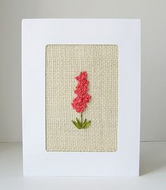 Coral Flowers Card silk ribbon embroidery by bstudio on Etsy, $8.00
