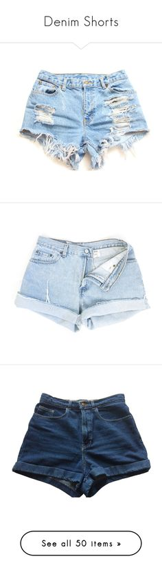 """""""Denim Shorts"""" by oh-aurora ❤ liked on Polyvore featuring shorts, bottoms, short, pants, distressed jean shorts, distressed denim shorts, denim shorts, plus size denim shorts, ripped jean shorts and high rise denim shorts"""