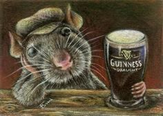 Paddy the rat drinking Guinness in a quiet pub  5x7 by tanyabond
