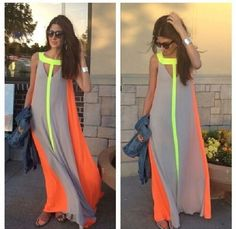 dress orange grey neon maxi dress by bcbgmaxazria