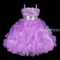 New Flower Girl Pageant Wedding Bridesmaid Party Dress Purple Wears Size 5 9 Z27 | eBay