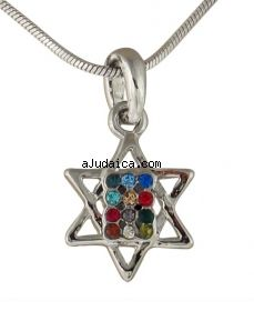 Breastplate Star of David Rhodium Necklace