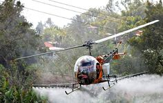 Bell 47 Crop-Spraying.........check out the power lines !!!