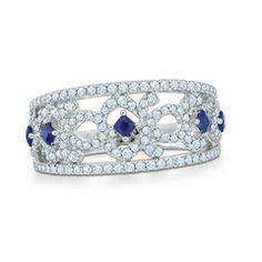 Vera Wang LOVE Collection 5/8 CT. T.W. Diamond and Blue Sapphire Vintage-Style Band in 14K White Gold