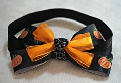 LovelyLake Stacked Pumpkin Halloween Bow on a  Black by LovelyLake, $10.00
