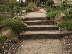 Beautiful native garden path and sleeper steps Garden Stream, Bush Garden, Garden Paths, Australian Garden Design, Australian Native Garden, Landscape Stairs, Landscape Design, Landscape Bricks, Sleeper Steps