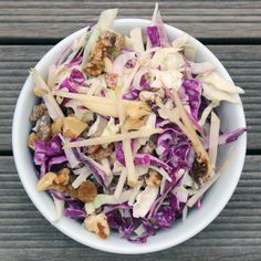 The Filling Fall Salad That Can Help You Detox. Ingredients: Savoy cabbage, red cabbage, fuji apple, red onion, walnuts, golden raisins, apple cider vinegar, cayenne pepper, Greek Yogurt, agave, fennel seeds, sea salt