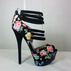 Black floral peep Toe heels in fabric material #cutesyoriginals