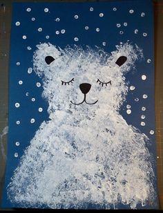 Fork Painted Polar Bear - Kid Craft Idea For Winter - - Winter Crafts For Toddlers, Animal Crafts For Kids, Winter Kids, Christmas Crafts For Kids, Christmas Art, Art For Kids, Kindergarten Art, Preschool Art, January Crafts