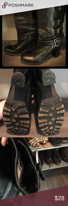 Nine West heeled leather moto boot Nine West heeled leather moto boot, size 8, worn condition- still have a lot  of wear left in them! Note where thread has come loose in last pic. Nine West Shoes Heeled Boots