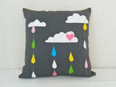 SUMMER RAIN . cushion pillow cover . clouds rain raindrops rainbow . grey yellow chevron . oz au wandarrah etsyau australia .