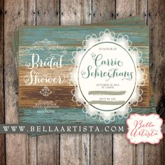 Rustic Bridal Shower Invitation Country Chic, Vintage Lace Invite by BellaArtista Invitations - Digital Invite - by: www.bellaartista.com : $15.00