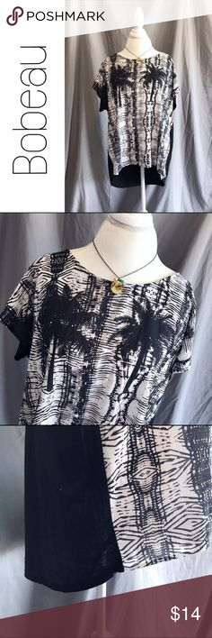 """Bobeau Tropical Black White High Low Top 2X Perfect for the beach or vacation! Print front, solid black back.  Size 2X. Measurements lying flat: chest 26"""", length from shoulder to front hem 24"""", slightly longer in back. B8 bobeau Tops"""