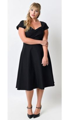 Plus Size Mad Style Black Cap Sleeve Swing Dress