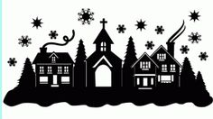 Silhouette Design Store - View Design #70674: christmas town snow scene