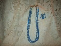 Sky Blue Glass Beads with Swarovski Crystals by SandiesGiftCorner, $39.00
