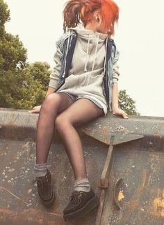 jacket hoodie pockets denim zip up jacket zip up hoodie sweater zip up grey big hoodie creepers sheer tights denim vest denim shorts red hair comfy layers