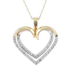 I am absolutely in love with the 10KY 1/4 cttw Diamond Nested Heart Pendant from #jewelexclusive